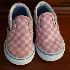Pink Purple check Van's toddler size 4.5 shoes